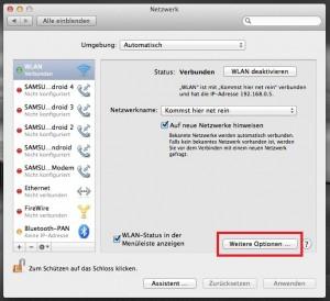 mac netzwerk weitere optionen